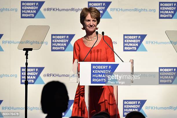 Kathleen Kennedy Townsend speaks onstage as Robert F Kennedy Human Rights hosts The 2015 Ripple Of Hope Awards honoring Congressman John Lewis Apple...