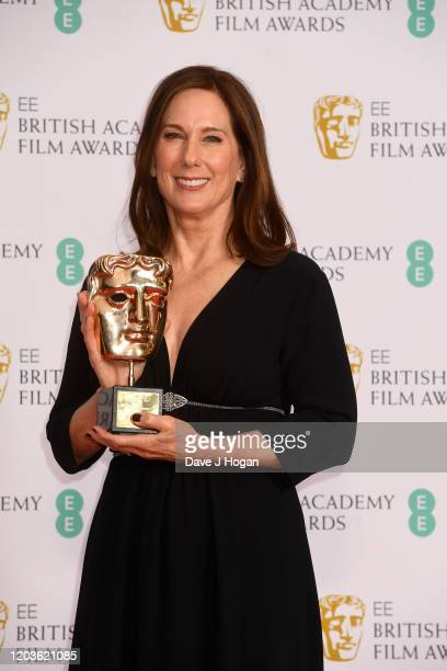 Kathleen Kennedy wins the Fellowship Bafta Award in the Winners Room during the EE British Academy Film Awards 2020 at Royal Albert Hall on February...