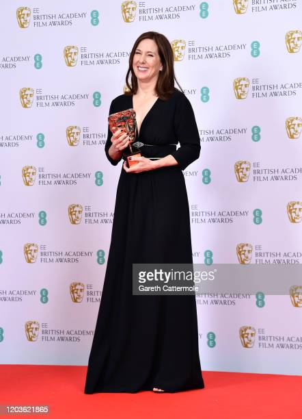 Kathleen Kennedy with the Fellowship Bafta Award in the Winners Room during the EE British Academy Film Awards 2020 at Royal Albert Hall on February...