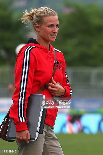 Kathleen Krueger, team manager of FC Bayern Muenchen looks on during a training session at Campo Sportivo on July 8, 2013 in Arco, Italy.