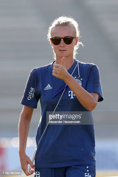 Kathleen Krueger, Team Manager of FC Bayern Muenchen looks on during the first training session at UCLA Drake Stadium on the first day of the FC...
