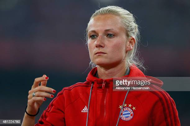 Kathleen Krueger, team manager of FC Bayern Muenchen looks on during the international friendly match between FC Bayern Muenchen and Valencia FC of...