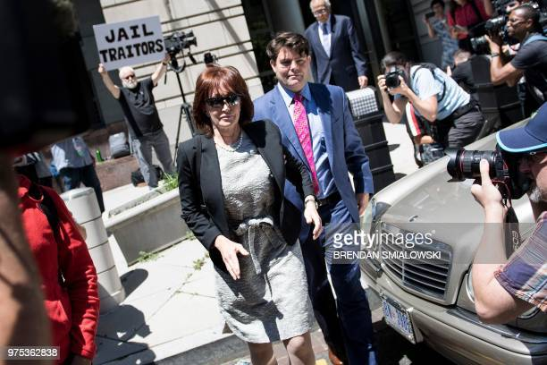 Kathleen Manafort leaves after the bail of her husband former Trump campaign chairman Paul Manafort was revoked during a hearing at federal court...