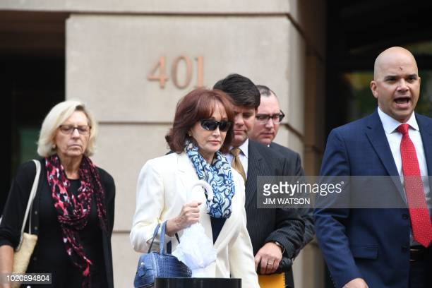 Kathleen Manafort leaves the US Courthouse in Alexandria Virginia August 21 2018 after attending her husband's Paul Manafort bank and tax fraud case...