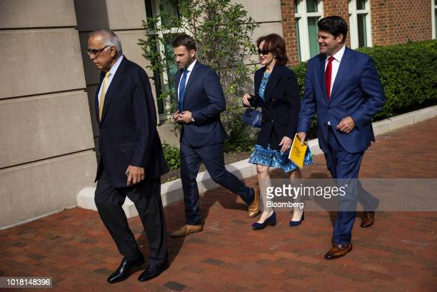 Kathleen Manafort wife of former Donald Trump campaign manager Paul Manafort second right and Jason Maloni spokesman for Manafort right arrive at...