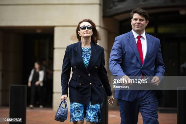 Kathleen Manafort wife of former Donald Trump campaign manager Paul Manafort left exits District Court in Alexandria Virginia US on Friday Aug 17...