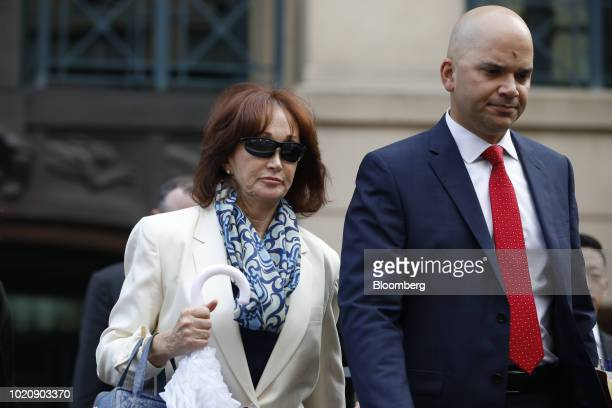 Kathleen Manafort wife of former Donald Trump campaign manager Paul Manafort left and Jay Nanavati cocounsel for Manafort exit from District Court in...