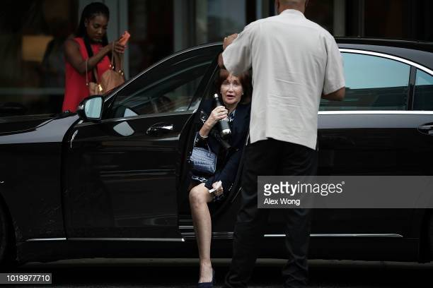 Kathleen Manafort wife of former Trump campaign chairman Paul Manafort arrive at a hotel across from the Albert V Bryan US Courthouse prior to the...