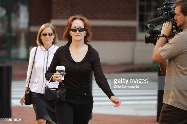 Kathleen Manafort wife of former Trump campaign chairman Paul Manafort arrives at the Albert V Bryan United States Courthouse for the second day of...