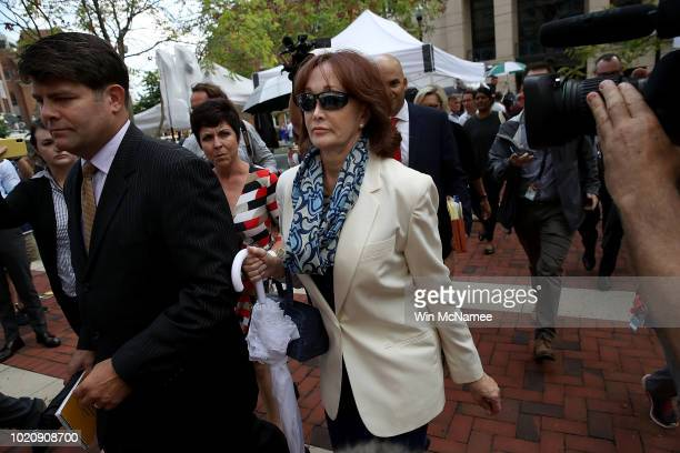 Kathleen Manafort wife of former Trump campaign chairman Paul Manafort leaves the Albert V Bryan United States Courthouse after the jury found her...