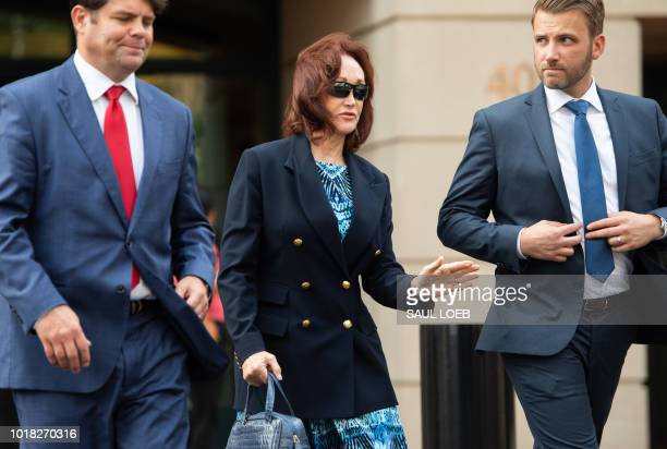Kathleen Manafort wife of former Trump campaign manager Paul Manafort walks from the Albert V Bryan US Courthouse in Alexandria Virginia August 17 as...