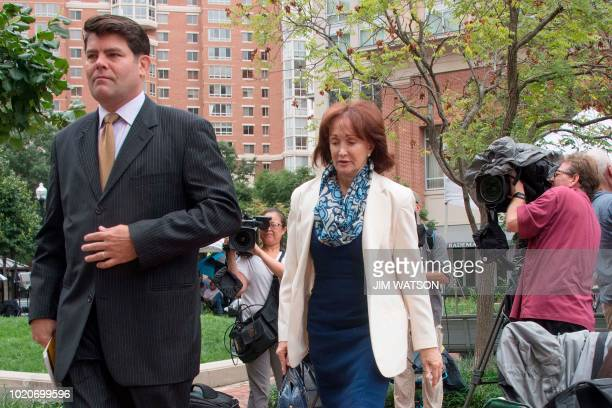 Kathleen Manafort wife of former Trump campaign manager Paul Manafort arrives at the US Courthouse in Alexandria Virginia August 21 as jury...