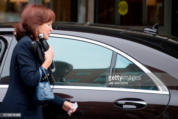 Kathleen Manafort wife of US President Donald Trump's former campaign manager Paul Manafort arrives at the US Courthouse in Alexandria Virginia...