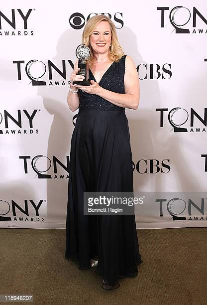 Kathleen Marshall poses with the award for Best Choreography during the 65th Annual Tony Awards at the The Jewish Community Center in Manhattan on...