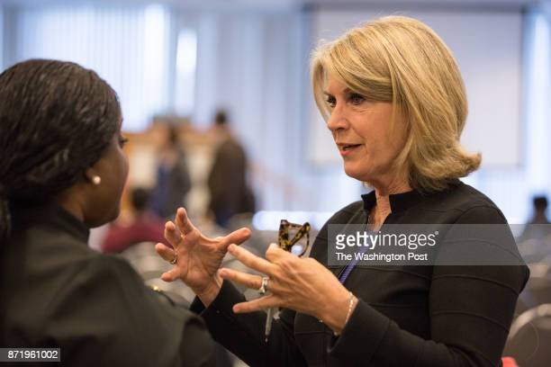 Kathleen Matthews who is running for Democratic Party chair mingles during the Young Democrats convention at the IBEW Local 26 in Lanham Maryland...