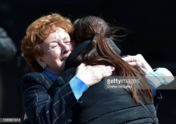 Kathleen McCarr, sister of Eddie Doherty, reacts after the findings of the Ballymurphy Inquest were released by the coroner at the Waterfront Hall on...