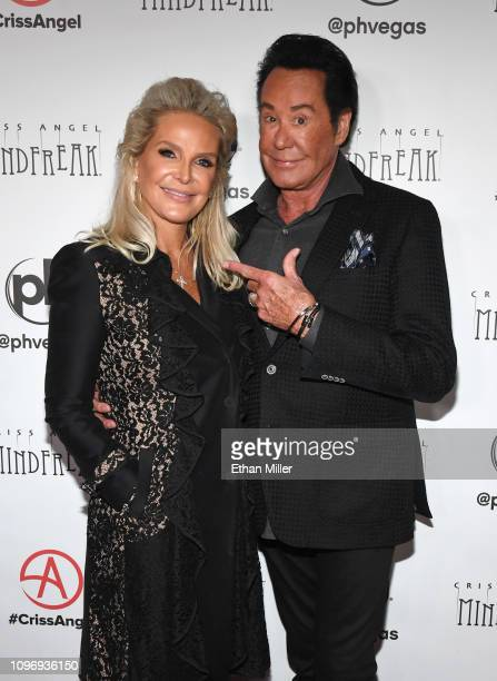 Kathleen McCrone and entertainer Wayne Newton attend the grand opening of Criss Angel MINDFREAK at Planet Hollywood Resort Casino on January 19 2019...