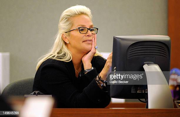 Kathleen McCrone Newton testifies on the witness stand during a court hearing at the Clark County Regional Justice Center on August 1 2012 in Las...