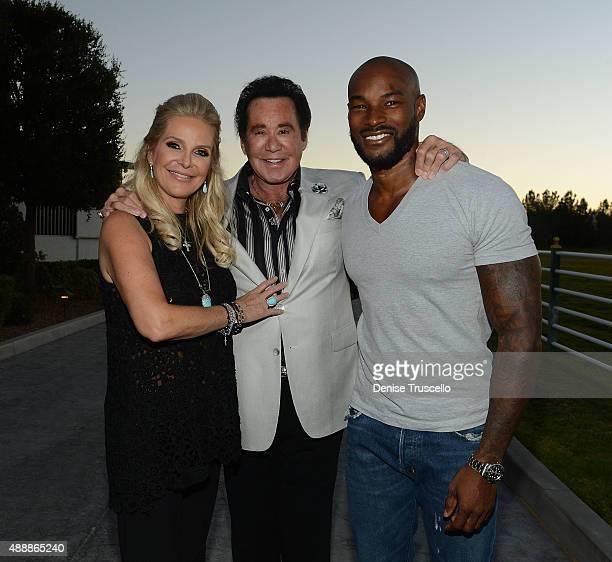 Kathleen McCrone Newton Wayne Newton and Tyson Beckford attend the VIP opening of Casa De Shenandoah on September 17 2015 in Las Vegas Nevada on...