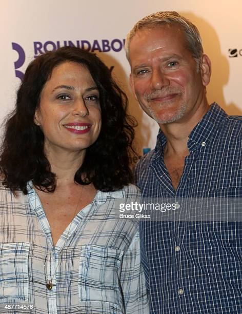 Kathleen McElfresh and Campbell Scott pose at the Roundabout Theater Company's 50th Anniversary Season Party at The American Airlines Theater...