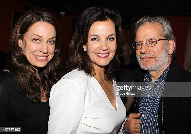 Kathleen McElfresh Margaret Colin and Campbell Scott pose at the opening night party for Taking Care of Baby at Faces Names Lounge on November 19...