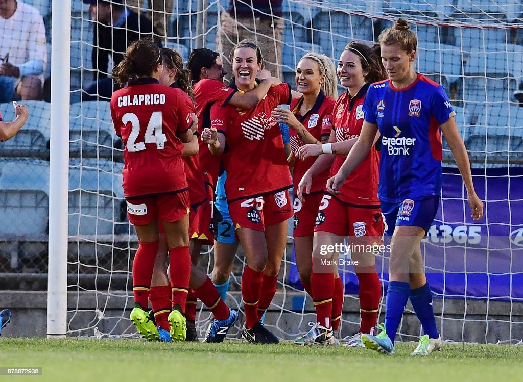 Kathleen Naughton of Adelaide United celebrates her goal during the round five W-League match between Adelaide United and Newcastle Jets at Marden Sports Complex on November 25, 2017 in Adelaide, Australia.