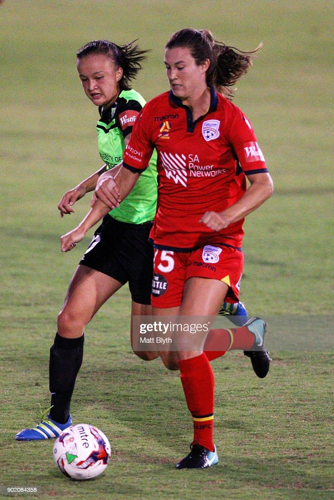 Kathleen Naughton of Adelaide United during the round 10 W-League match between Canberra United and Adelaide United at McKellar Park on January 7, 2018 in Canberra, Australia.