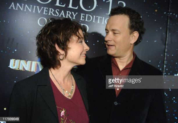 Kathleen Quinlan and Tom Hanks during Apollo 13 Anniversary Edition DVD Launch Press Line at California Science Center in Los Angeles California...