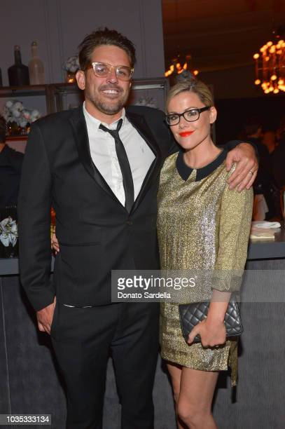 Kathleen Robertson and guest attend the 2018 Netflix Primetime Emmys After Party at NeueHouse Hollywood on September 17 2018 in Los Angeles California