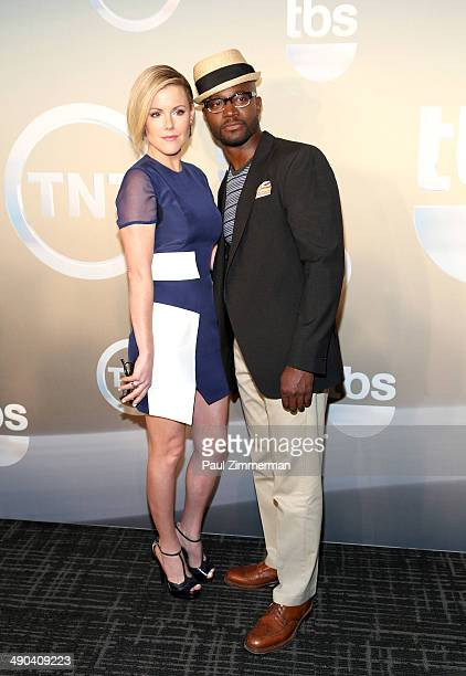 Kathleen Robertson and Taye Diggs attend the 2014 TNT/TBS Upfront at The Theater at Madison Square Garden on May 14 2014 in New York City