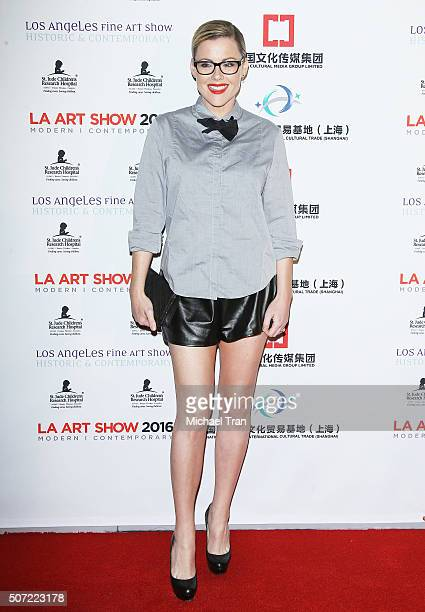 Kathleen Robertson arrives at the LA Art Show and Los Angeles Fine Art Show's 2016 opening night premiere party benefiting St Jude Children's...