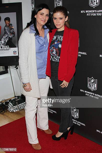 Kathleen Rooney Mara of the New York Giants and daughter Kate Mara visit the NFL Style Suite at the Bryant Park Hotel on September 20 2011 in New...