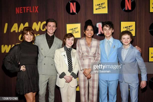Kathleen Rose Perkins Richard Ellis Sophia Lillis Sofia Bryant Wyatt Oleff and Aidan WojtakHissong attend Netflix's I Am Not Okay With This Photocall...