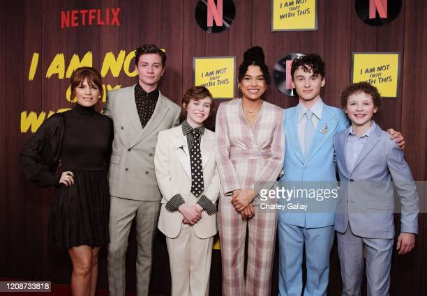 Kathleen Rose Perkins Richard Ellis Sophia Lillis Sofia Bryant Wyatt Oleff and Aidan WojtakHissong attend the premiere of Netflix's I Am Not Okay...