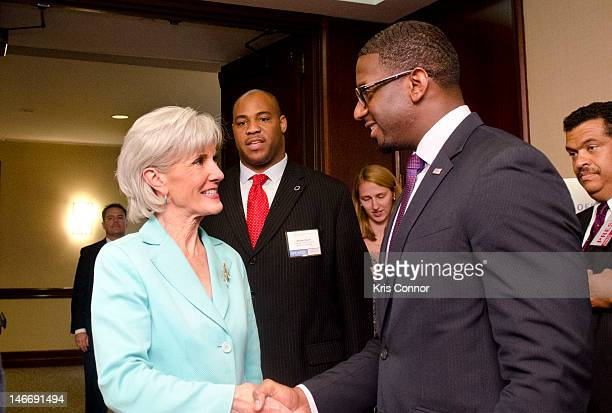 Kathleen Sebelius and Andrew Gillum speak during the Young Elected Officials Network National Convening at Washington Court Hotel on June 22 2012 in...