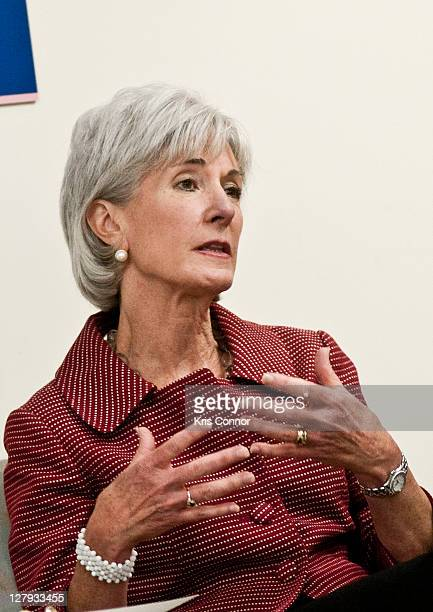 Kathleen Sebelius listens during a roundtable discussion during a visit to the Breast Care Center at the Inova Alexandria Hospital at Mark Center on...