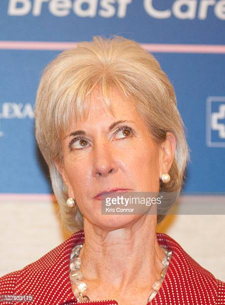 Kathleen Sebelius poses for photo during a vist to the Breast Care Center at the Inova Alexandria Hospital at Mark Center on October 3 2011 in...