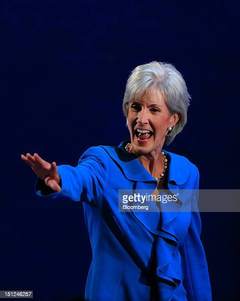 Kathleen Sebelius US health and human services secretary gestures after speaking at the Democratic National Convention in Charlotte North Carolina US...