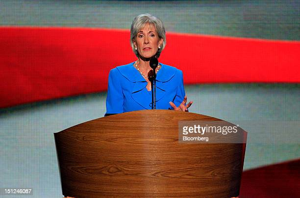 Kathleen Sebelius US health and human services secretary speaks at the Democratic National Convention in Charlotte North Carolina US on Tuesday Sept...