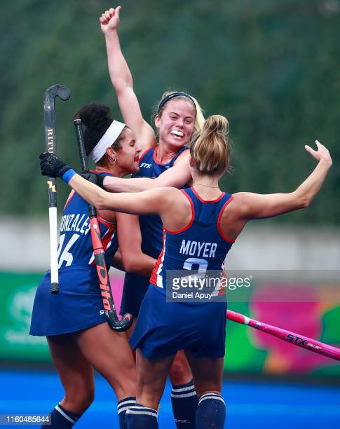 Kathleen Sharkey, Linnea Gonzales and Lauren Moyer of United States celebrate after scoring a goal during Hockey Women bronze medal on Day 14 of Lima...