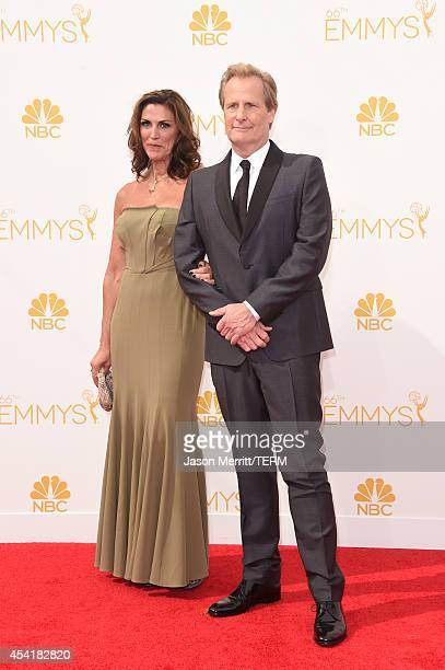 Kathleen Treado and actor Jeff Daniels attend the 66th Annual Primetime Emmy Awards held at Nokia Theatre LA Live on August 25 2014 in Los Angeles...