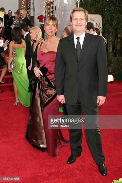 Kathleen Treado and Jeff Daniels during The 63rd Annual Golden Globe Awards Arrivals at Beverly Hilton Hotel in Beverly Hills California United States