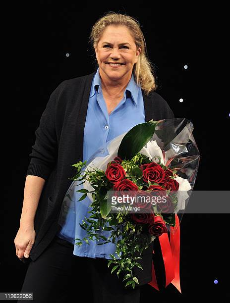 Kathleen Turner curtaincall during the Broadway opening night of High at the Booth Theatre on April 19 2011 in New York City