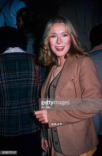Kathleen Turner in a tan wool jacket; circa 1970; New York.