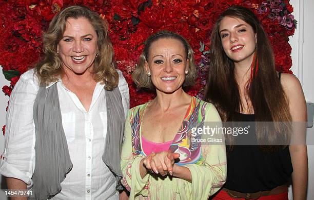 Kathleen Turner Tracie Bennett and Rachel Ann Weiss pose backstage at the hit play End of The Rainbow on Broadway at The Belasco Theater on May 30...