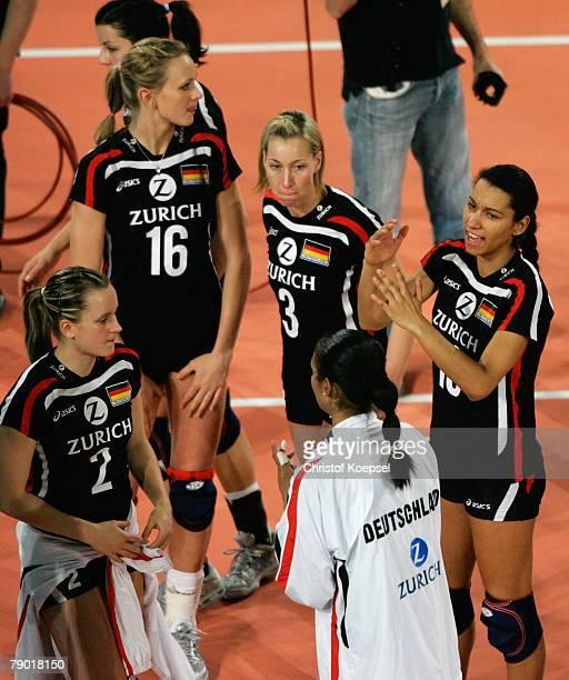 Kathleen Weiss Margareta Kozuch Tanja Hart Kathy Radzuweit and Atika Bouagaa of Germany look dejected after losing 23 the Women Beijing 2008 Olympic...