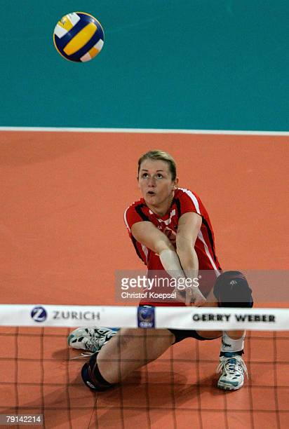 Kathleen Weiss of Germany in action during the Women Beijing 2008 Olympic Games Qualification match between Germany and the Netherlands at the Gerry...