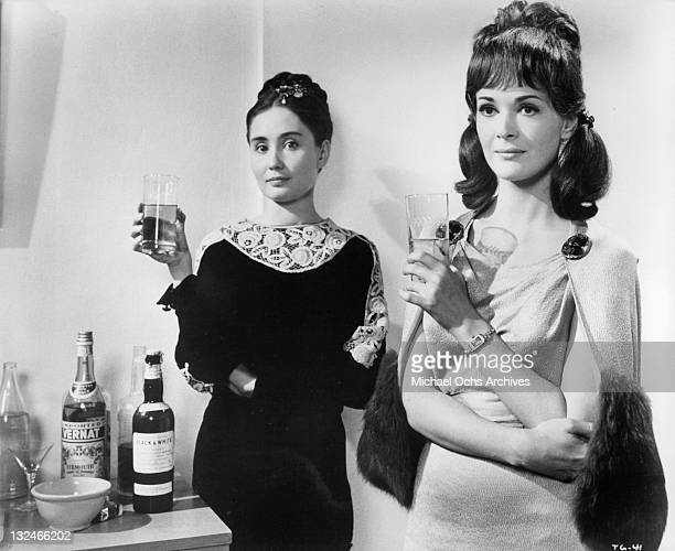Kathleen Widdoes and Jessica Walter at a cocktail party in a scene from the film 'The Group' 1966