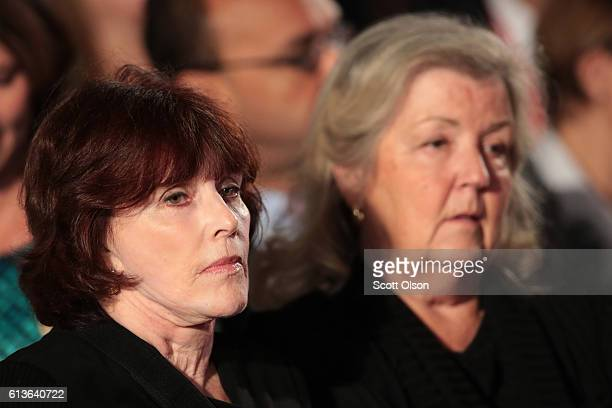Kathleen Willey and Juanita Broaddrick sit before the town hall debate at Washington University on October 9 2016 in St Louis Missouri This is the...