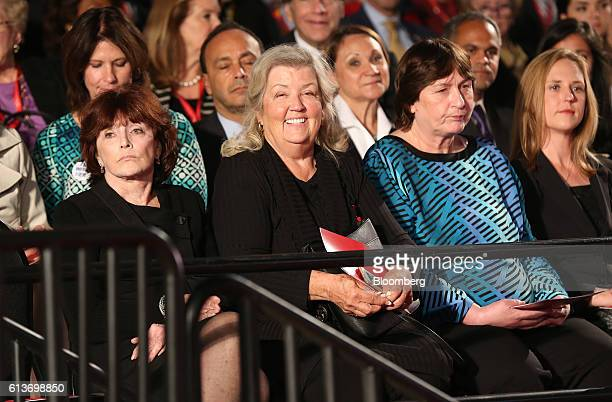 Kathleen Willey from left Juanita Broaddrick and Kathy Shelton sit in the audience ahead of the second US presidential debate at Washington...